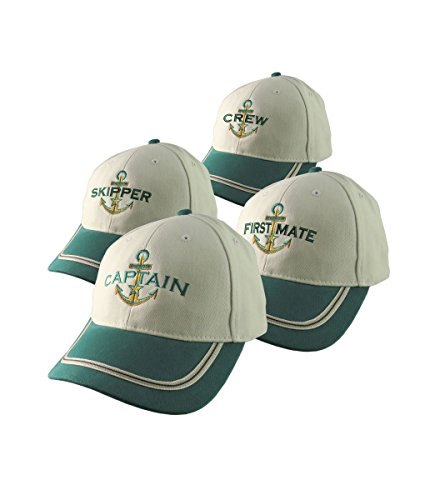 Nautical Star Anchor Captain and Crew Embroidery Adjustable Beige and Green Structured Baseball Cap Options to Personalize Boat - Twill Crew Brushed