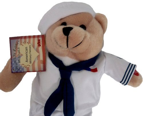 Plush Bear Chantilly Lane 11 Inch Singing Military Hero Navy Anchors Away - Navy Bear