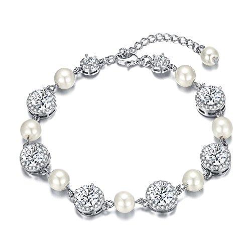 EleQueen Women's Round Cubic Zirconia Cream Simulated Pearl Wedding Bracelet Clear - Cubic Pearl Zirconia