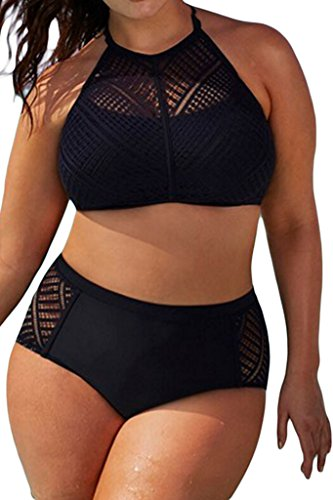4bce940b9d2ff EVALESS Womens Plus Size Sheer Mesh Padded Push Up Bikini Set Swimsuit  Swimwear