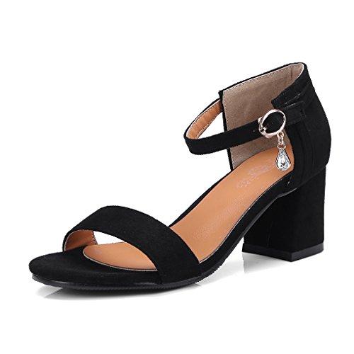OALEEN Sandales Bout Ouvert Femme Talon Hauts Bloc Bride Cheville Suède Strass Chaussures Soirée Noir Classique NOv4THY