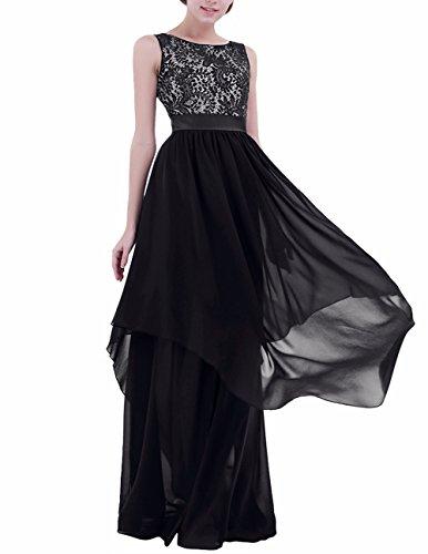 de Boda Noche Largo para Chica Aire al Freebily Cóctel Vestido Negro Mujer Vestido Graduación Espalda Elegante aS5qqxI