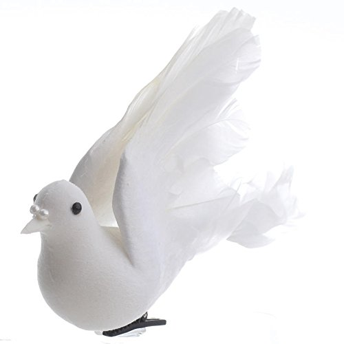 Factory Direct Craft Package of 12 White Flying Feathered Artificial Doves with Attached Clips for Wedding, Party and Special Event Decorating