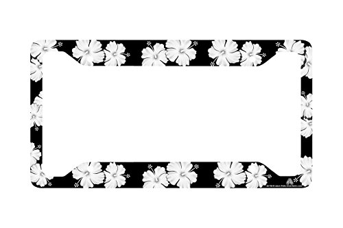 Airstrike Tropical Flowers Hibiscus Black License Plate Frame, Flower License Plate Frame, License Plate Holder, Cute License Plate Frame-30-756 (License Flower Plates)