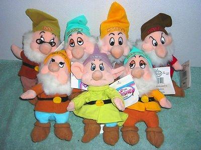 Disney Store Snow White's Seven Dwarfs 8'' Plush Bean Bags