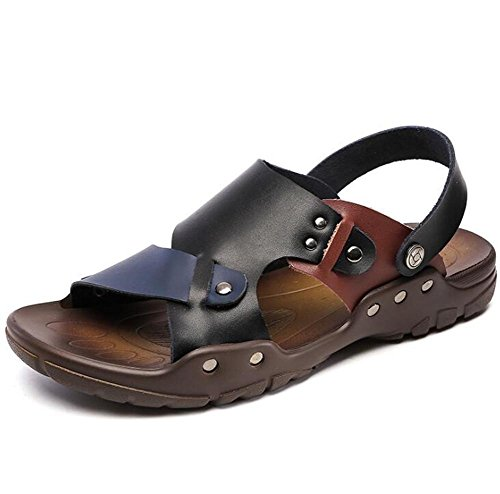 Sandali Taglia Slipper Pull 38 pelle Traspirante XIE Open Scarpe Toe 43 Nero vera Beach antiscivolo uomo Estate a BLACK EU41 on EU41 da Rivet in da q0w6T7