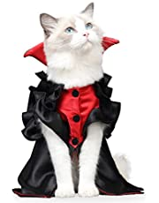 Halloween Cat Dog Costume Vampire Cape, Pet Costume for Cats and Small Dogs Cosplay Party,Cat Outfit Clothes for Halloween Party Decoration