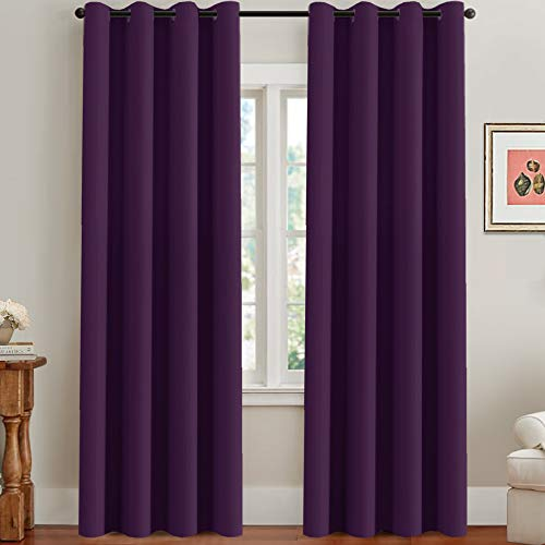 (H.VERSAILTEX Blackout Thermal Insulated Room Darkening Winow Treatment Extra Long Curtains/Drapes,Grommet Panels (Set of 2,52 by 96 - Inch,Solid Plum Purple))
