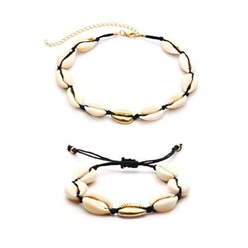 LANG XUAN Beach Conch Shell Necklace Bracelet Velvet Chain Choker Weaving Bohemian Necklace Jewelry for Women (Black-Gold)