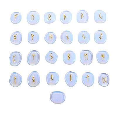 Banshren Opalite Rune Stones Set Engraved Symbol with a Velvet Pouch