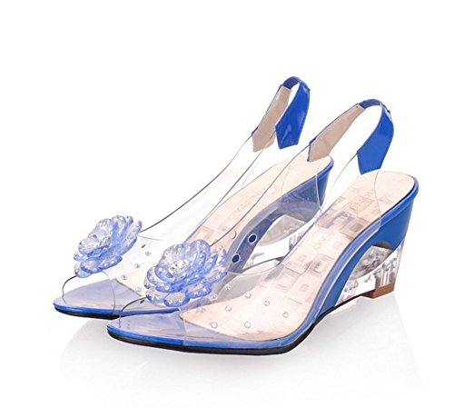 Chfso Femmes Boho Floral Strass Wedges Peep Toe Sandales Chaussures Bleu