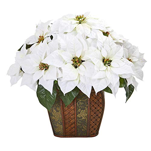 Nearly Natural A1057 18in. Poinsettia Artificial Decorative Planter Silk Arrangements, White