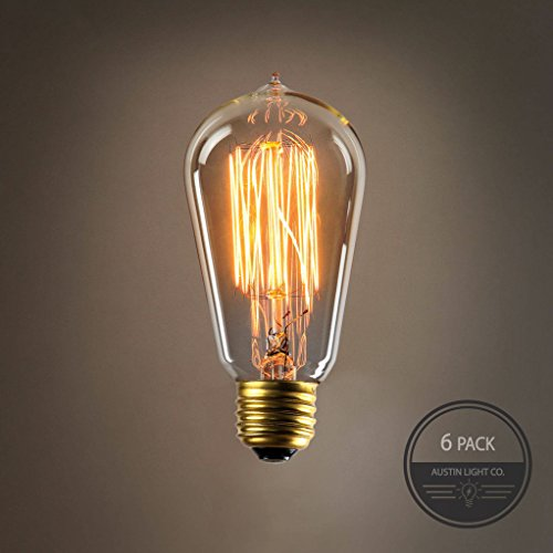 Edison light bulb (6 Pack) Choose from many different designs. 40 watt and 60 watt. Inspired by Thomas Edison these incandescent filament style bulbs provide retro vintage light ambiance