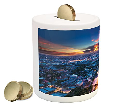 Urban Piggy Bank by Ambesonne, Bangkok Skyline at Sunset Evening Thailand Cityscape Metropolis Architectural Photo, Printed Ceramic Coin Bank Money Box for Cash Saving, Blue Coral (Thailand Patio Bangkok)