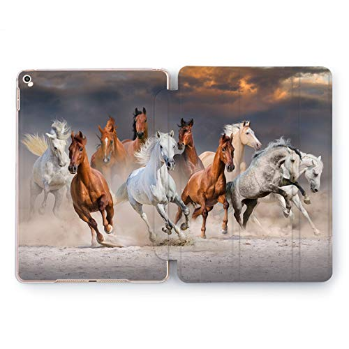Wonder Wild Running Horses Apple iPad Pro Case 9.7 11 inch Mini 1 2 3 4 Air 2 10.5 12.9 2018 2017 Design 5th 6th Gen Clear Smart Hard Cover Nature Animals Sunset Realism Gallop Clouds Tribe World -