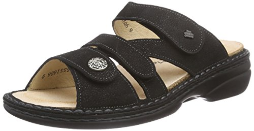Finn Comfort Womens 82568 Sandalo In Pelle Di Vitello Long Turchese Nero