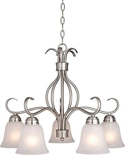- Maxim 10124ICSN Basix 5-Light Chandelier, Satin Nickel Finish