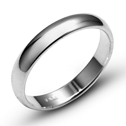 10k White Solid Gold 6mm Comfort Fit Domed Plain Men's Women's Wedding Band Size 10 ()