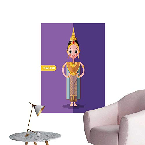 SeptSonne Wall Stickers for Living Room thail National Costumes in Flat Style Vinyl Wall Stickers Print,24