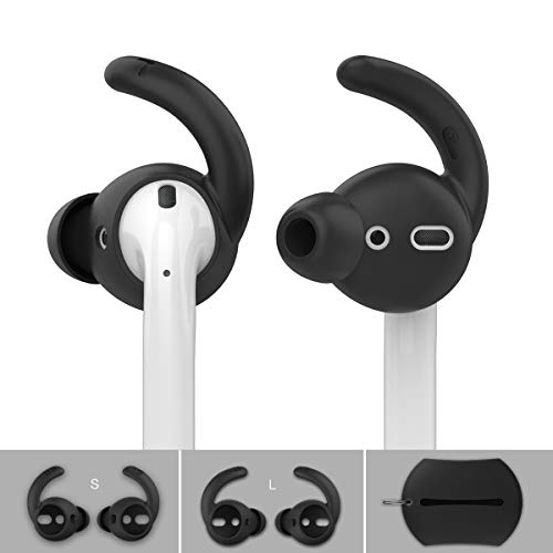 AhaStyle Earbuds Ear Hooks Covers [Sound Quality Enhancement] Compatible with Apple AirPods EarPods Headphones [2 Pairs- Large & Small] (Black)