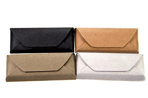 Demel Augenoptik Brillenetui Papieroptik - Großes Hartschalen Etui / Papierüberzug Kreativ Bemalbar (Oliv)