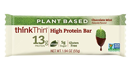 Protein Bars Without Soy - thinkThin High Protein Vegan Plant Based Bars, Chocolate Mint, 1.94 oz Bar (10 Count)
