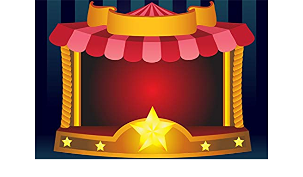 Cartoon Red White Stripes Circus Stage Red Curtain Backdrop 8x6.5ft Vinyl Shiny Starry Night Sky Photography Background Kids Baby Portrait Shoot Birthday Party Banner Cake Smash