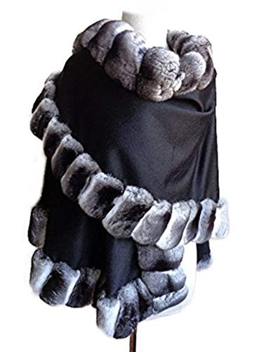 (Moda Furs Women's New Black 100% Cashmere & Genuine Chinchilla Fur Wrap Cape Length 27