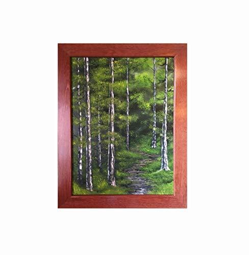 Balau Wood - Into the Woods Original Fine Art Oil Painting in Red Balau Mahogany Hardwood Frame