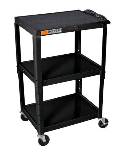 H WILSON W42AE Adjustable Height AV Cart, Black by H Wilson