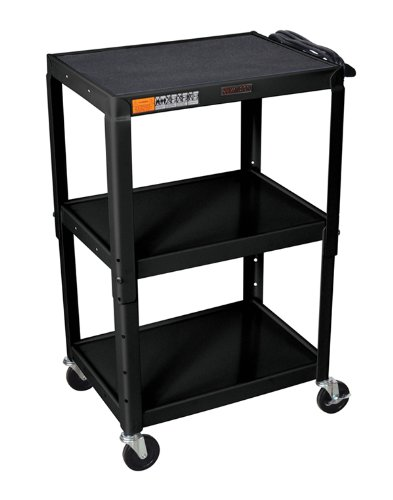H WILSON W42AE Adjustable Height AV Cart, Black