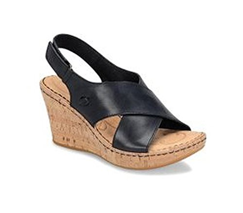 Born Women's Henning Leather Criss-Cross Slingback Cork Wedge Sandal (6, Black) ()