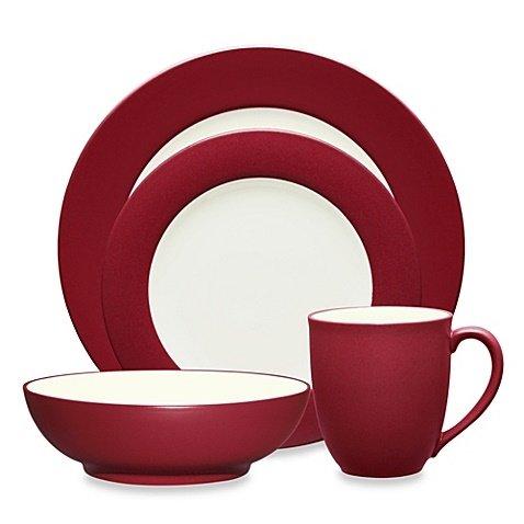 Microwave Noritake Plates Safe - Noritake Colorwave 4-Piece Place Setting, Rim Shape, Made of durable stoneware, Dishwasher and microwave safe Dinnerware Set (Raspberry)