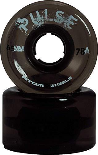 Atom Skates Pulse Outdoor Quad Roller Wheels 78A, Black, Set of 8, 65mm x 37mm (Speed Skates Wheels Black)