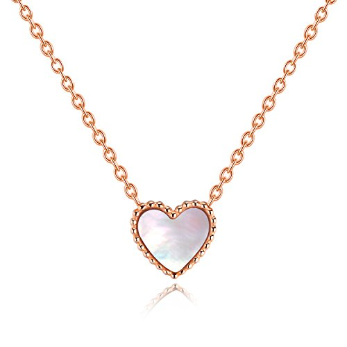 - JJ WAY Women's Cute Heart Chain Necklace White Shell Pendant Necklace Rose Gold Chain