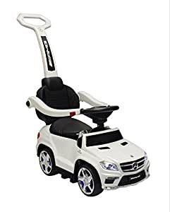 4-in-1 Ride On Stroller Licensed Mercedes GL63 AMG Convertible Push Car Kids Foot to Floor Toy, LED Lights, MP3 Music Player, White