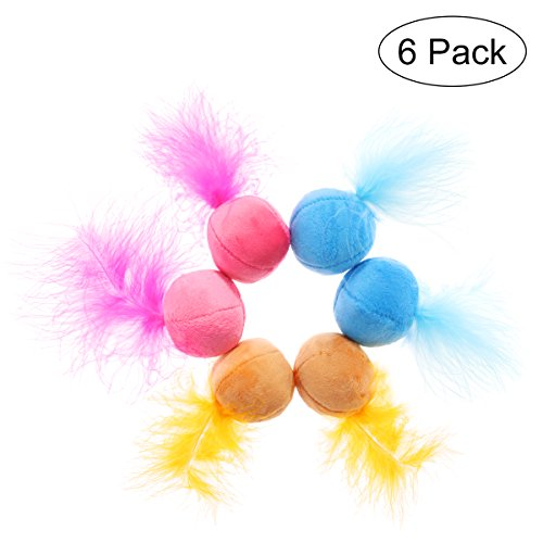 UEETEK Cat Feather Ball, Catnip Ball Interactive Toys with Bell for Kitten, Pack of 6
