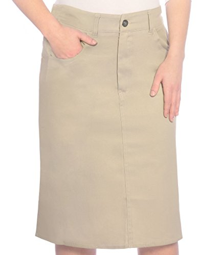 Kosher Casual Women's Modest Knee Length Lightweight Cotton Stretch Twill Pencil Skirt Medium Beige