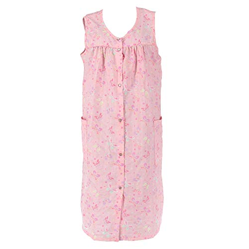 5 More Minutes Women's Plus Size Sleeveless Floral Duster Robe, 1X, Pink ()