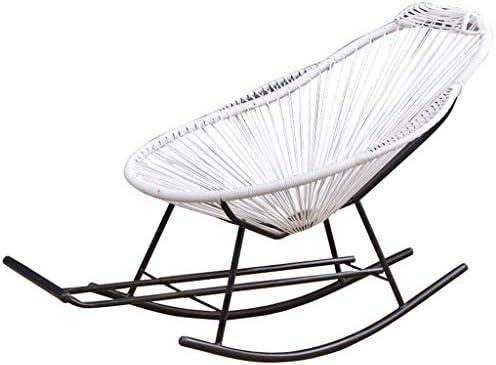 GUOOK Silla de ratán Mecedora Muebles de jardín con escabel ...