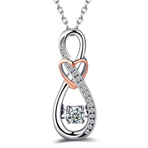 Infinity Heart Pendant (Caperci Diamond Accent Infinity with Heart Pendant Necklace in Sterling Silver and Rose Gold)