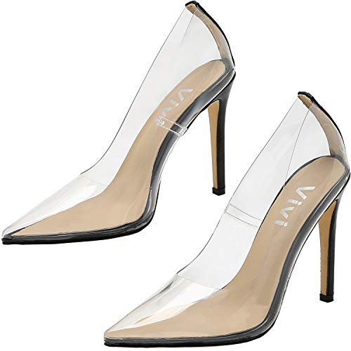 (vivianly Fashion High Heel Pointed Toe Clear Pumps Heels Slip on Dress Shoes for Women Black)