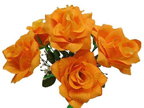 2 Bushes Lite Orange Open Rose Artificial Silk Flowers 14