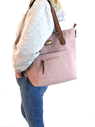 Shipping Adjustable Ladies with amp; Beautiful Shoulder Styled Italian Heather Tote Detachable for Pink Free Strap Handbag Bag Amy ZUS4wq