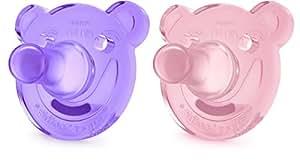 Philips Avent Soothie - Pack de 2 Chupetes calmantes de silicona médica, sin BPA, + 3 meses, color morado y rosa