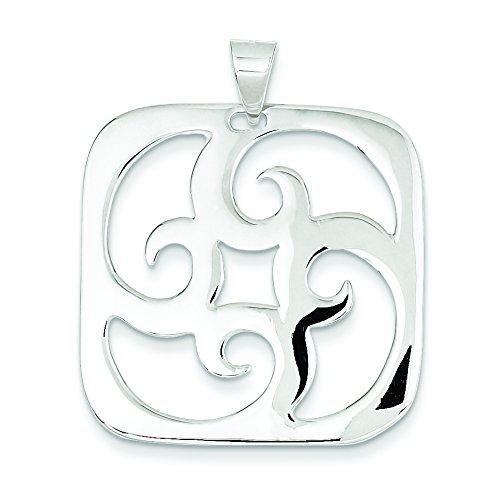 Sterling Silver Square Swirl Pendant