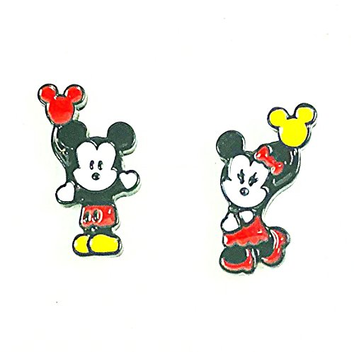Disney Inspired Mickey and & Minnie Mouse Holding Balloon Metal Enamel Stud Earrings Great Gift