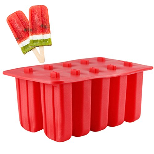 EDTara Ice Cream Mold Silicone Ice Cream Lolly Pop Maker Mould Popsicle Frozen,Ice Tray with Cover Lid,10 Cells by EDTara (Image #2)