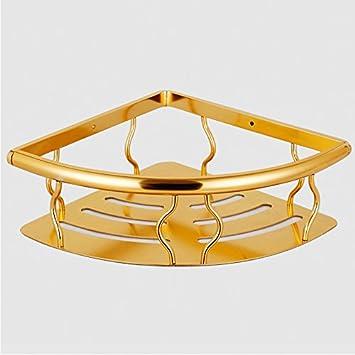 ZYZX Espacio de ángulo de Aluminio Cesta triángulo cestas estantes de baño un Solo Tramo de Toallas de baño Cesta de Esquina: Amazon.es: Hogar