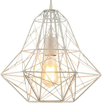 Industrial Cage One-light Pendant Light – LITFAD 14 Retro White Finished Vintage Hanging Pendant Lamp Ceiling Pendant Fixtures F